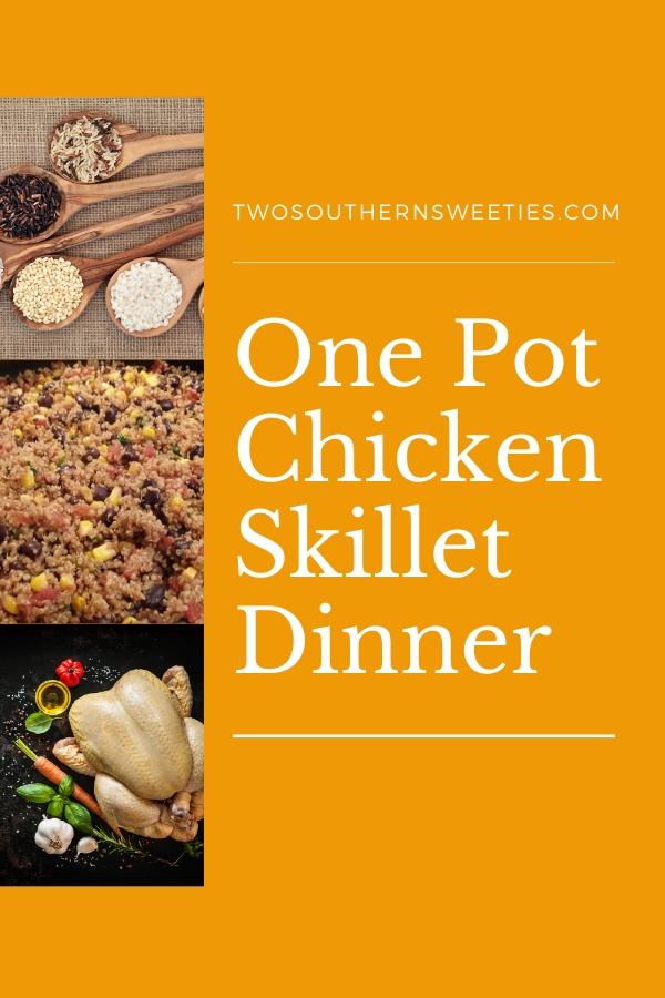 One Pot Chicken Skillet Dinner - Delicious One Pot Chicken Dinner that will get a hot nutritious meal on the table for you and your family in about 30 minutes. With Southwest spices as well as corn, beans and cheese it will give you a spicy little kick. #onepotmeals #onepot #chickendinner #chickenrecipes