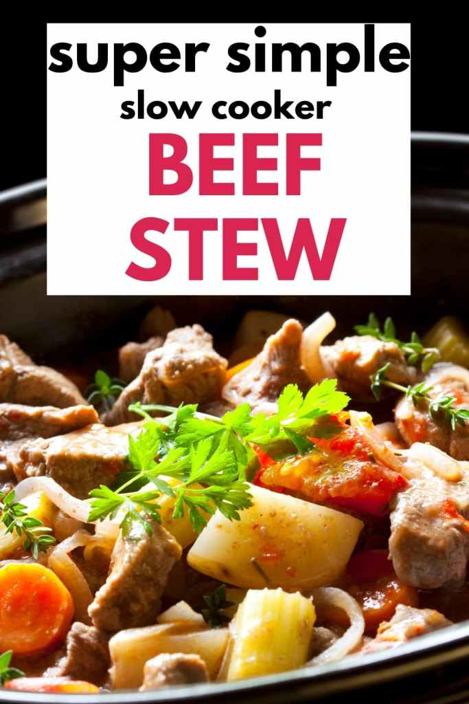 This Super Simple Slow Cooker Beef Stew is quick, easy and a family favorite Just pop the beef and vegetables into a Crock Pot and Set it, Forget it, Enjoy it. #crockpotrecipes #beefstew