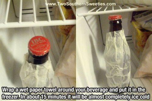 In a hurry to get your drink cold? These tips and life hacks will seriously wishing you had known them sooner. They are such simple tips that will add big value to your life. | Two Southern Sweeties | #lifehacks