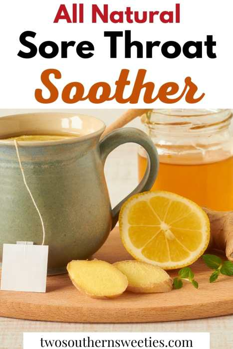 This Natural Sore Throat Soother can be used as a cough remedy as well as helping with chest colds and of course sore throats. #naturalremedy #coughremedy #honeylemon