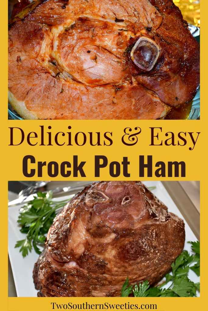 Delicious and Easy Crock-Pot Ham - This delicious and easy crock pot ham is a go-to for both holidays and weekend get-togethers. Free up your oven for your other cooking. #slowcooker #crockpot #thanksgiving #thanksgivingdinner #christmas #holidayrecipes #thanksgivingrecipes #christmasrecipes