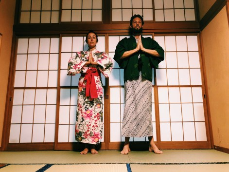 Dressed up in traditional Japanese Kimono offered by Takaragawa