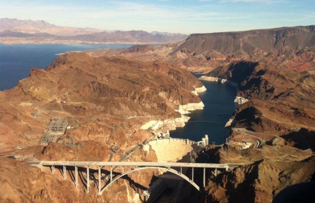 View of the Hoover Dam and the Mike O'Callaghan-Pat Tillman Memorial Bridge from the helicopter