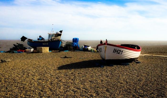 Fishing boats on the beach in Aldeburgh