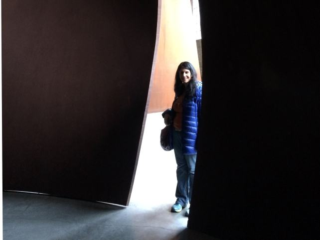 Anisa entering the Richard Serra artwork maze at DIA Beacon - Beacon, NY Day Trip for World Class Contemporary Art - Two Traveling Texans