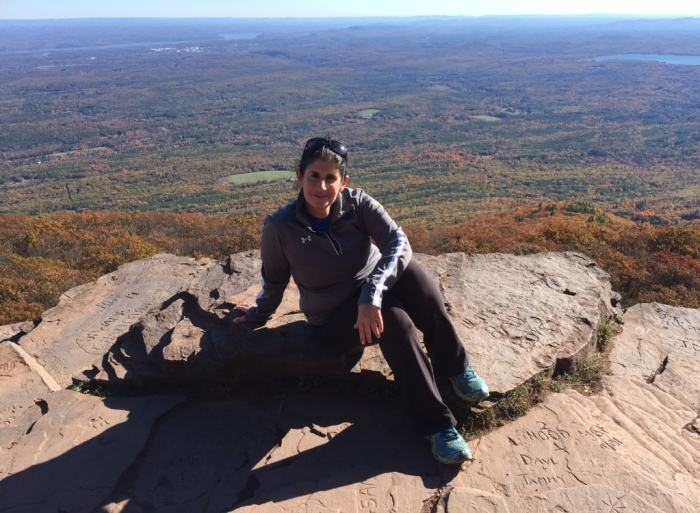 Anisa at the scenic lookout on the top of Overlook Mountain