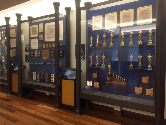 The lobby of the museum, look at all the awards!