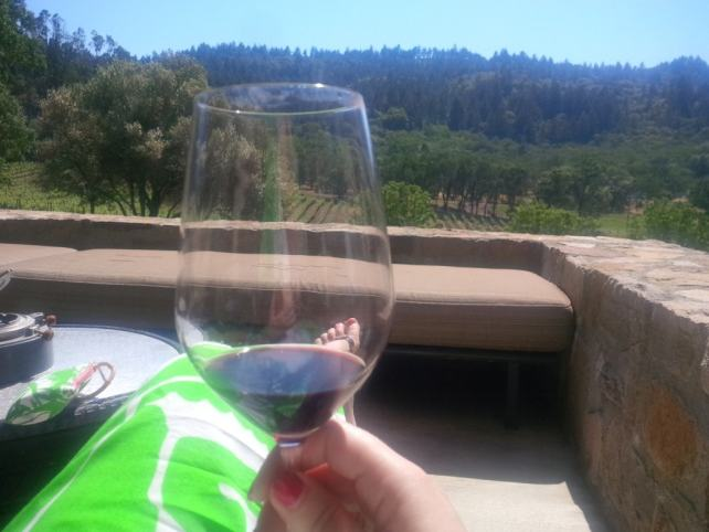 """Katherine relaxing and enjoying the wine at Trinchero - - """"10 Wine Tasting Tips and Tricks for Napa Valley"""" - Two Traveling Texans"""