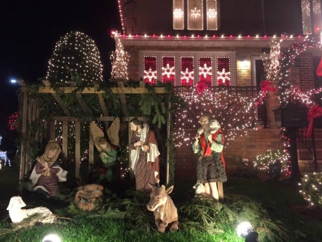 Another nativity scene and more decorations on the windows.