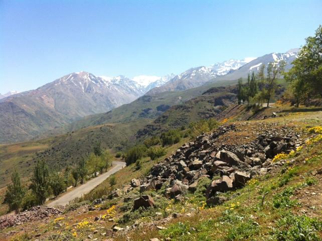 The scenic Andes Mountains in Chile