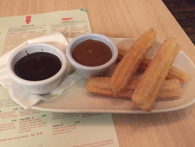 """For dessert - the churros with dipping sauces - """"Mexican Food Finds in London"""" - Two Traveling Texans"""
