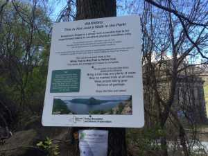 """The warning sign at the Breakneck Ridge Trailhead. - - """"Breakneck Ridge Lives Up To Its Name"""" - Two Traveling Texans"""