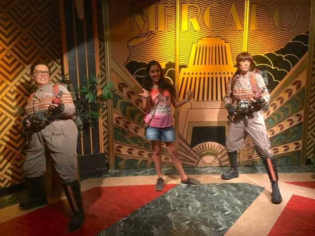 "Aanya with the new Ghostbusters. - ""Madame Tussauds NYC Ghostbusters Dimensions Experience"" - Two Traveling Texans"
