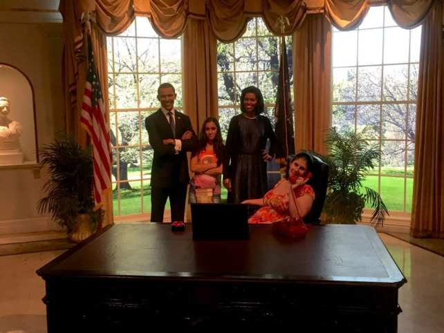 "Anisa and Aanya in the oval office with the Obamas. - ""Madame Tussauds NYC Ghostbusters Dimensions Experience"" - Two Traveling Texans"