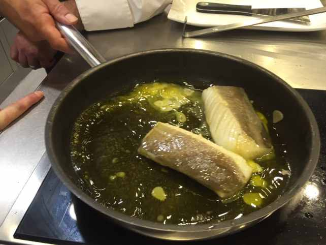 Making Pil Pil Sauce during our Pintxos Cooking class