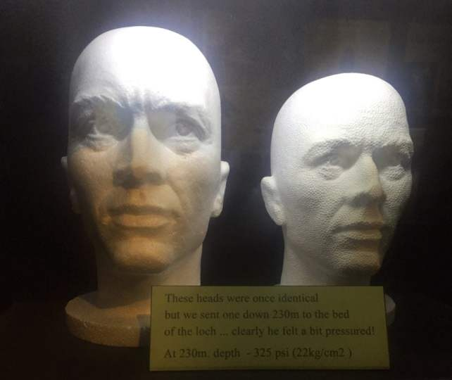 "Two heads that demonstrate the pressure of the water in Loch Ness - ""Loch Ness: Searching for Nessie"" - Two Traveling Texans"
