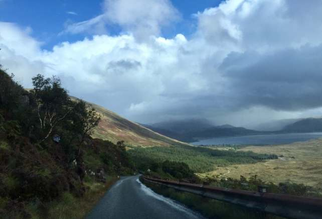 "The road to the old ferry on Isle of Skye had stunning views and lots of waterfalls. - 'The Journey Over the Sea to Skye"" - Two Traveling Texans"