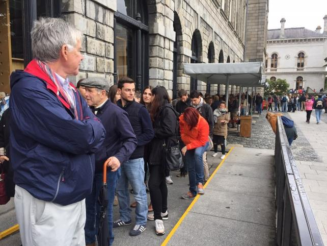 """Book you tickets in advance you don't want to be waiting in this line. - """"The Book of Kells - A Medieval Treasure"""" - Two Traveling Texans"""