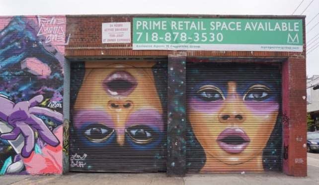 """We saw several murals by Lexi Bella. I love the way she paints eyes. - """"Brooklyn Graffiti and Street Art Tour"""" - Two Traveling Texans"""