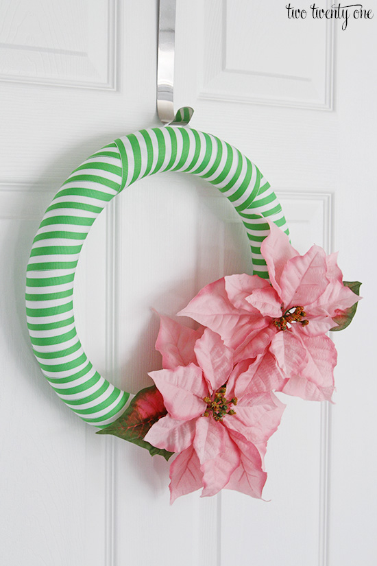 green and pink holiday wreath
