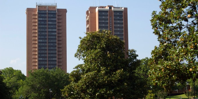 Photo courtesy of TWU's flickr page, Guinn and Stark towers