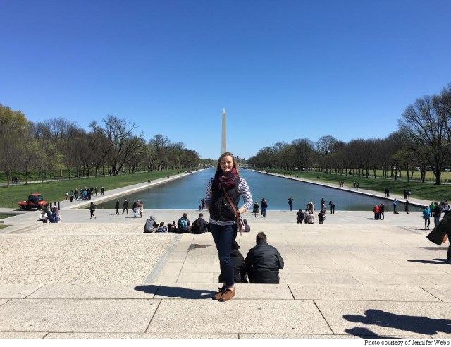 Jennifer Webb poses in front of the Washington Memorial on the National Mall in Washington, D.C.