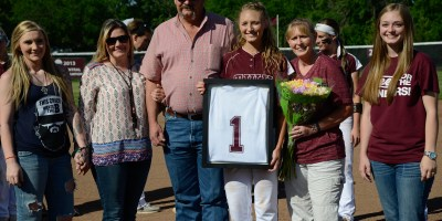 The TWU softball program recognized Farquhar and her family and her family during the senior ceremony.