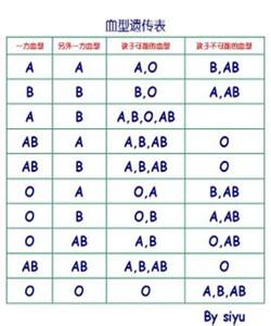 血型遺傳規律表- 臺灣Word