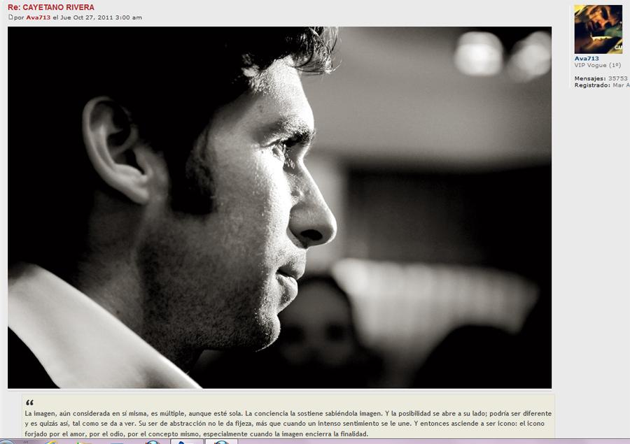 Un retrato de Cayetano Rivera en los foros de la revista Vogue. Hay muchos, de los que les hice a él y a José María Manzanares. Las fans no tienen piedad.