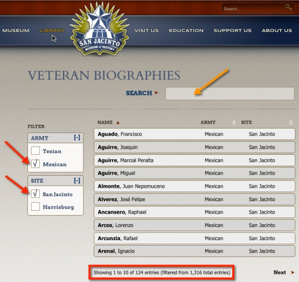 Veteran Biographies Database San Jacinto Museum of History