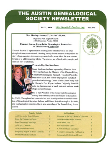2016 Winner Austin Genealogical Society newsletter