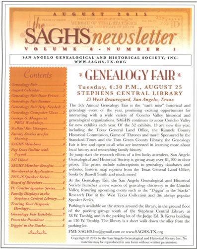 2016 Winner San Angelo Genealogical and Historical Society Newsletter