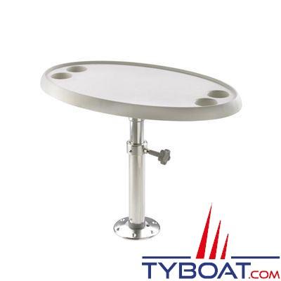 vetus table ovale 76 x 45 cm pied reglable et amovible hauteur 68 cm