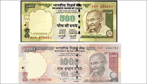 old Rs 500 and Rs 1000 currency notes