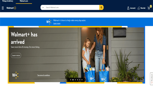 Walmart online shopping site in USA