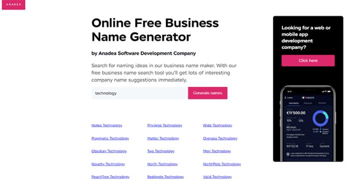Anadea free online business name generator
