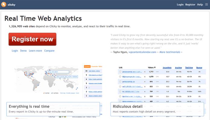 Clicky website analytics tool