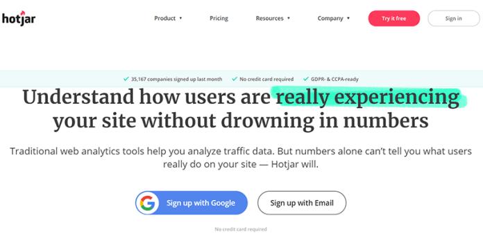 Hotjar web analytics tool
