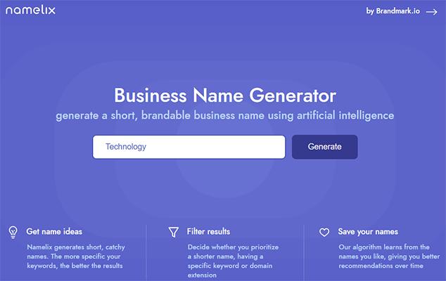 Namelix free business name generator