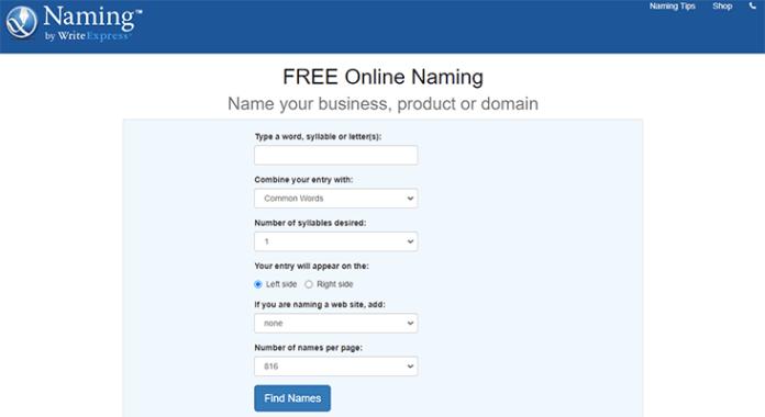 Naming.net free online business name generator