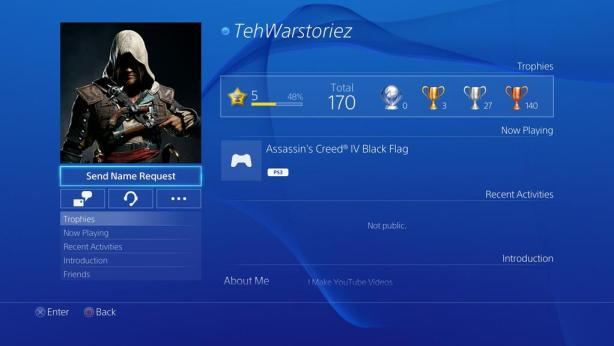 PS4 Friend Profile