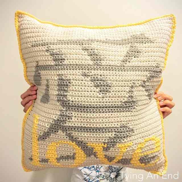 Love Crochet Throw Pillow – Tying An End