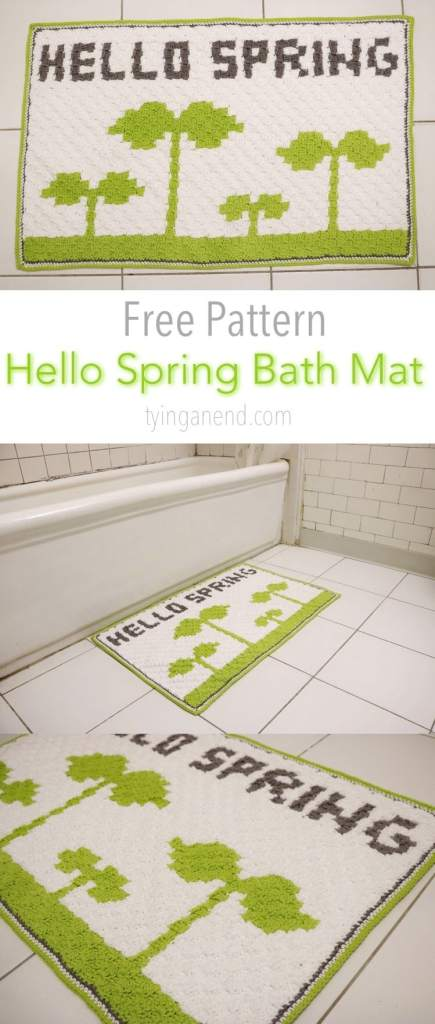 Hello Spring Bath Mat - Tying An End