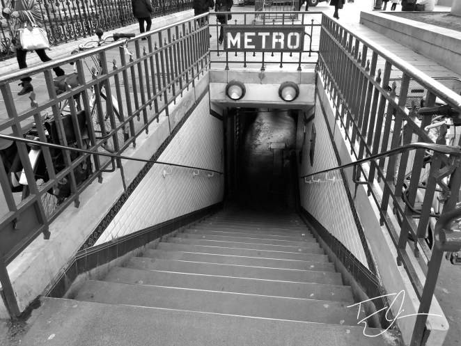 Black and White Metro Subway Station Entrance Paris, France