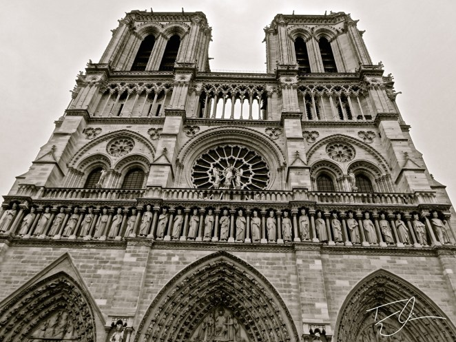 Facade of Notre Dame Cathedral in Paris, France