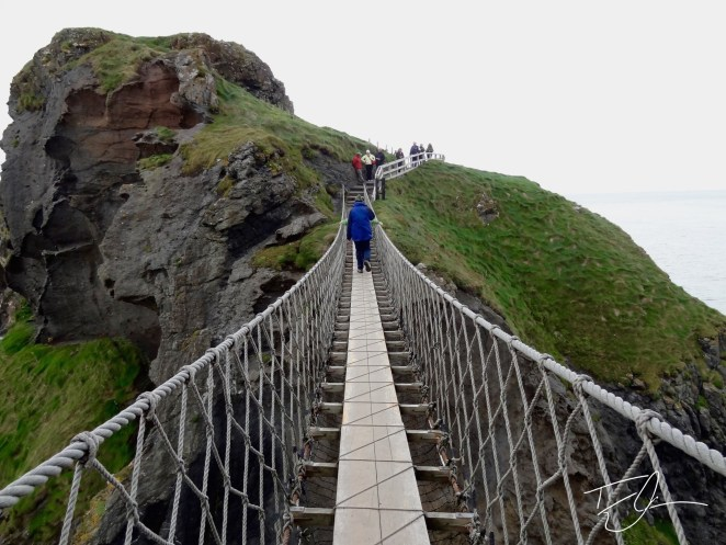Looking across Carrick-a-Rede rope bridge in Northern Ireland