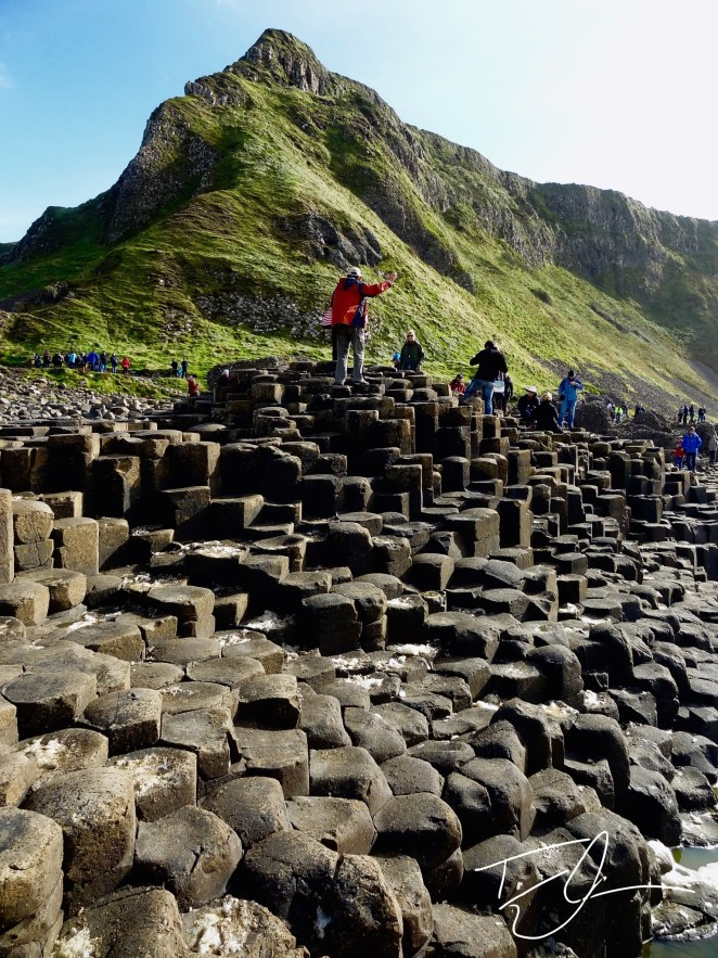 Looking up at the cliffs above the Giant's Causeway, Northern Ireland