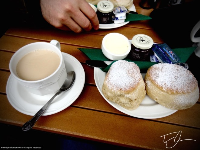 Cream Tea with Scones and Clotted Cream in England