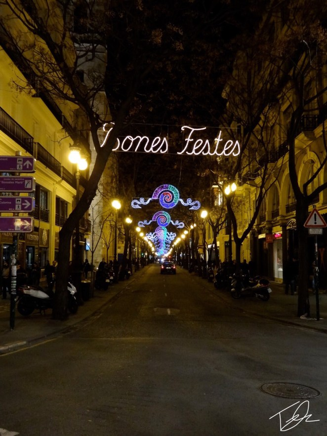 Lights over the streets of Valencia bring color and atmosphere