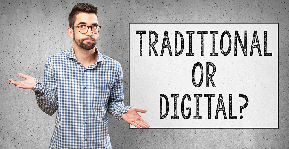 man doing a balance comparing traditional and digital marketing